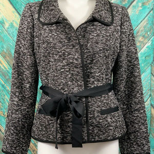 Kate Spade Gray Wool Tweed Jacket Ribbon Sash 12